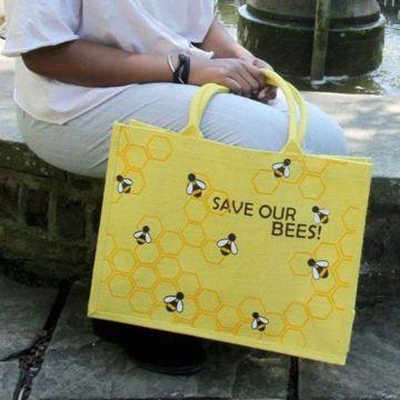 """Jute-Einkaufstasche """"Save Our Bees"""""""
